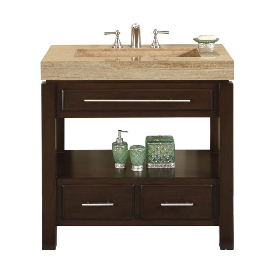 Silkroad Exclusive Stanton Dark Walnut Integrated Single Sink Bathroom  Vanity With Travertine Top (Common: