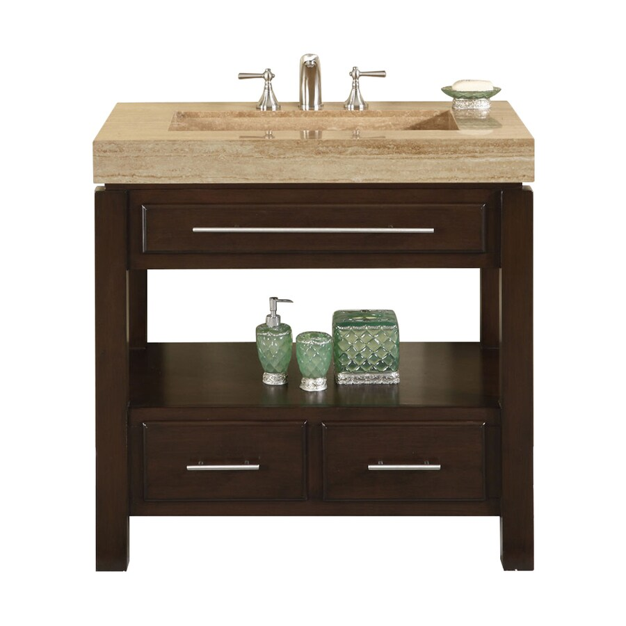 Silkroad Exclusive Stanton Dark Walnut 36-in Integral Single Sink Bathroom Vanity with Travertine Top