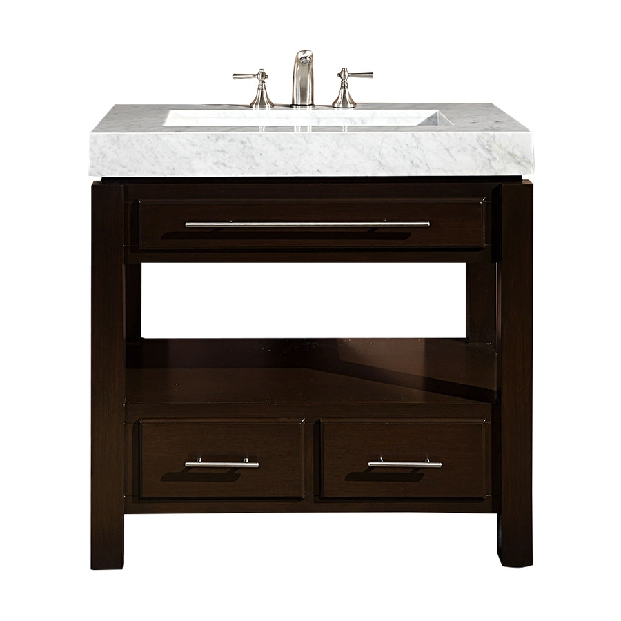 Silkroad Exclusive Stanton Dark Walnut Integral Single Sink Bathroom Vanity with Natural Marble Top (Common: 36-in x 23-in; Actual: 36-in x 23-in)