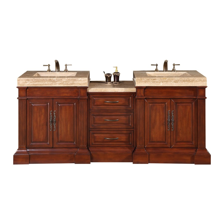 Silkroad Exclusive Stanton Natural Cherry Integrated Double Sink Bathroom Vanity with Travertine Top (Common: 83-in x 23-in; Actual: 83-in x 23-in)
