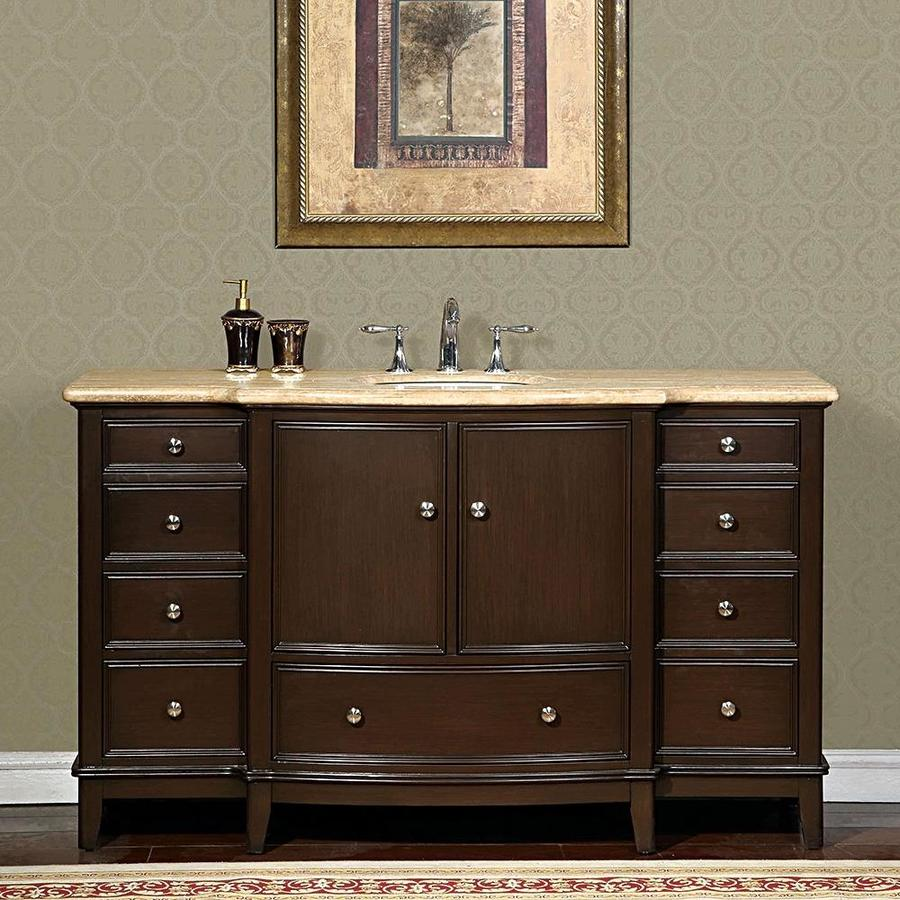 Shop Silkroad Exclusive Clarice Dark Walnut Vanity With Travertine Travertine Top Common 60 In