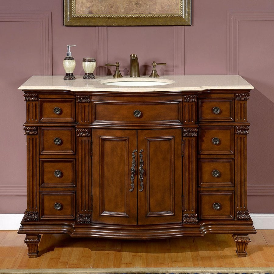 Shop Silkroad Exclusive Esther Walnut Undermount Single Sink - Lowes 48 bathroom vanity