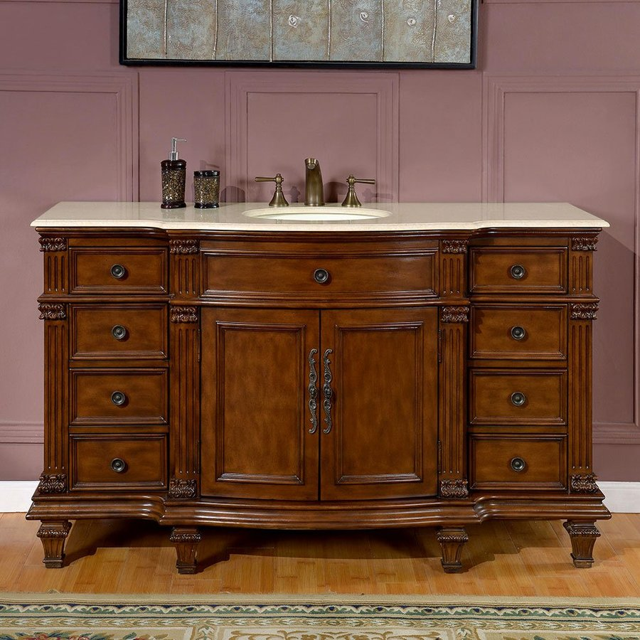 Silkroad exclusive esther walnut single sink vanity with - Lowes single sink bathroom vanity ...