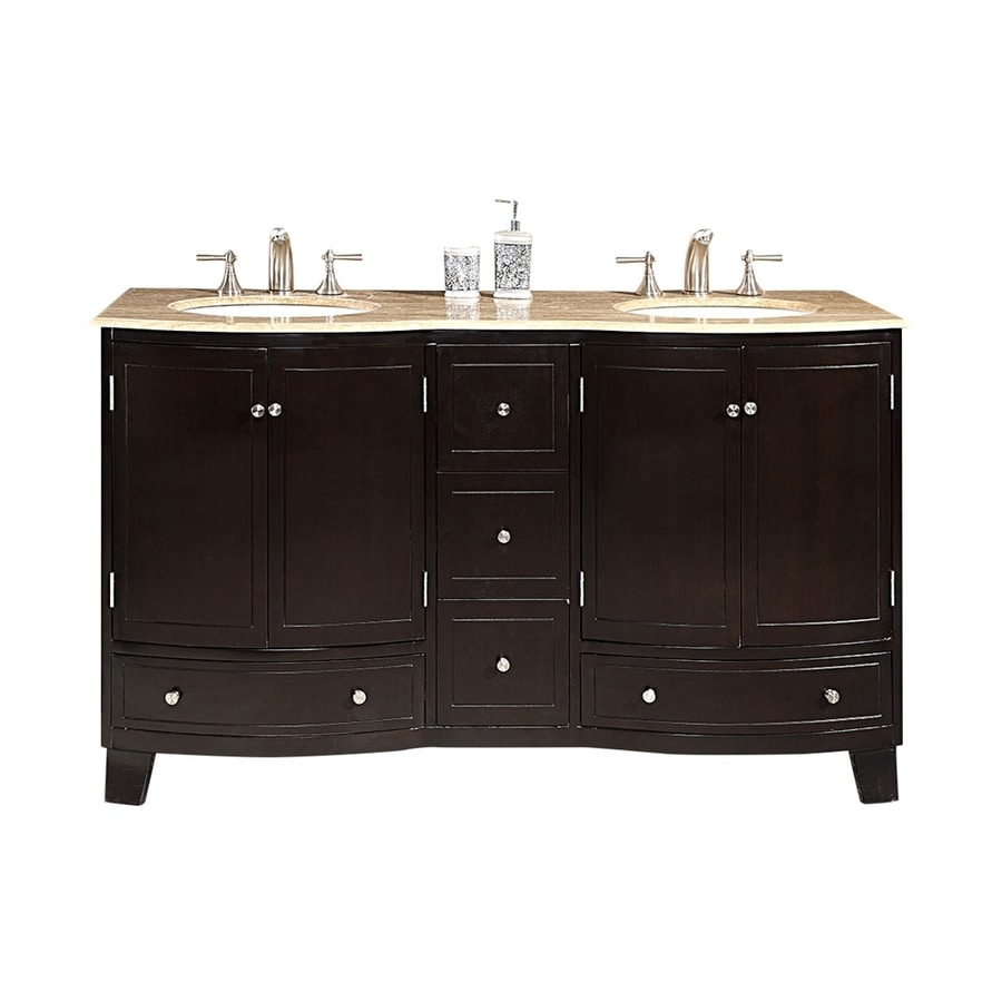 Silkroad Exclusive Naomi Dark Espresso Undermount Double Sink Bathroom Vanity with Travertine Top (Common: 60-in x 22-in; Actual: 60-in x 22-in)