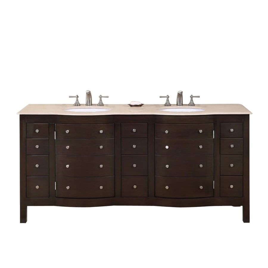 Silkroad Exclusive Dark Walnut (Common: 72-in x 22-in) Undermount Double Sink Poplar Bathroom Vanity with Natural Marble Top (Actual: 72-in x 22-in)