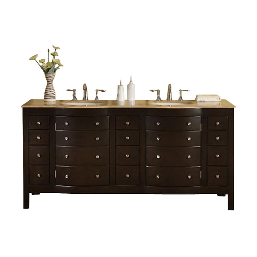 Silkroad Exclusive Dark Walnut 72-in Undermount Double Sink Bathroom Vanity with Travertine Top