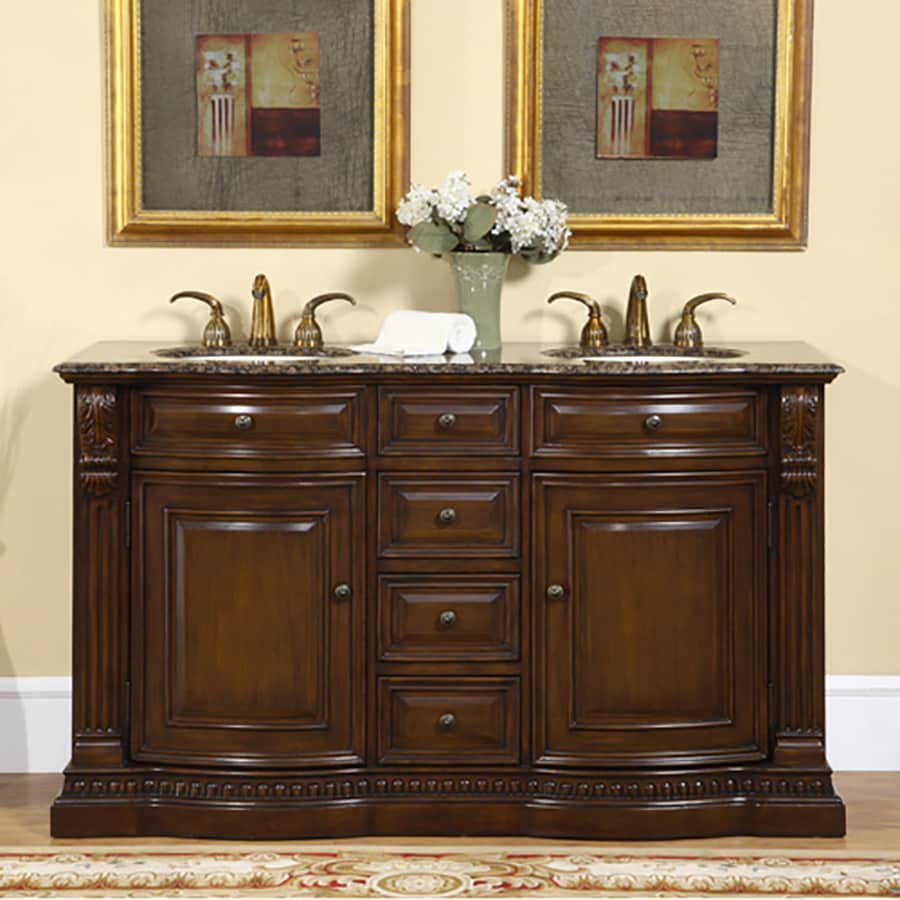 Silkroad Exclusive Samantha American Walnut 60-in Undermount Double Sink Bathroom Vanity with Granite Top