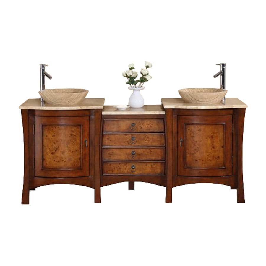 Silkroad Exclusive Vanessa Red Chestnut 72-in Vessel Double Sink Bathroom Vanity with Travertine Top