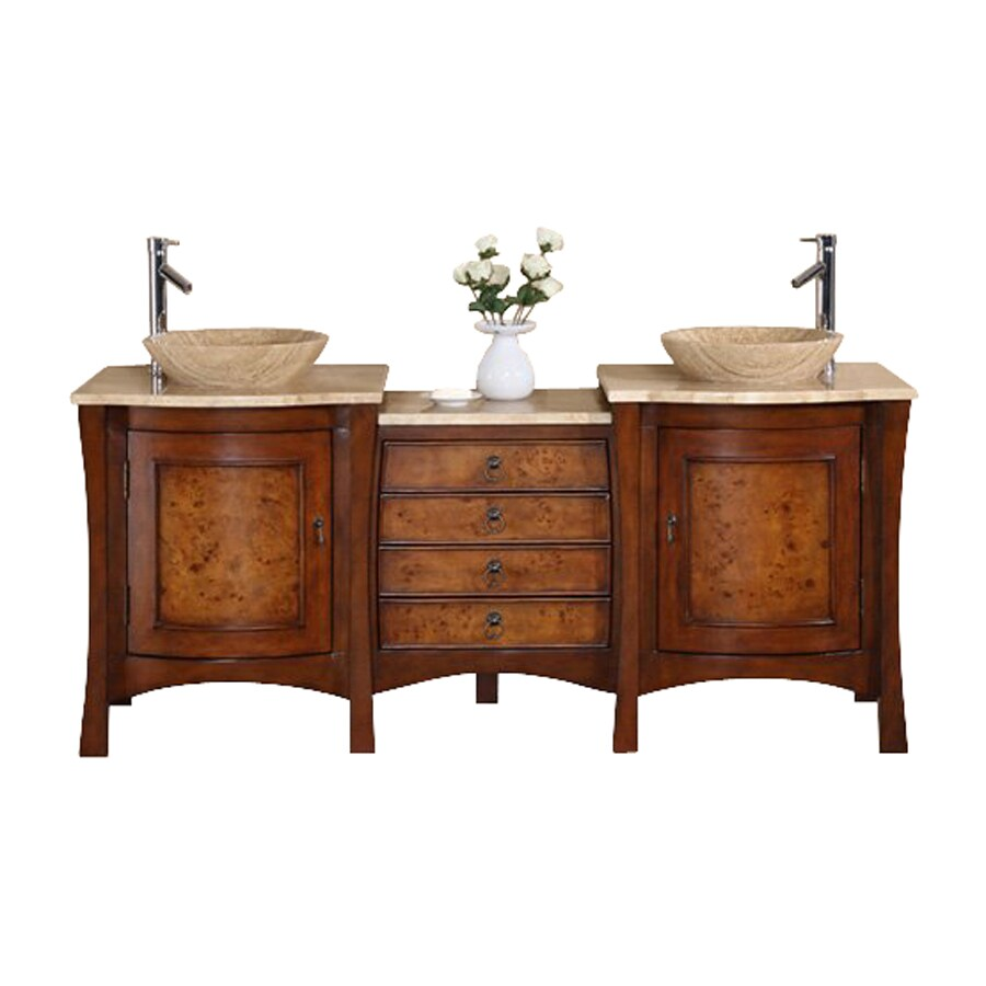 Shop silkroad exclusive vanessa red chestnut 72 in vessel double sink bathroom vanity with Lowes bathroom vanity and sink