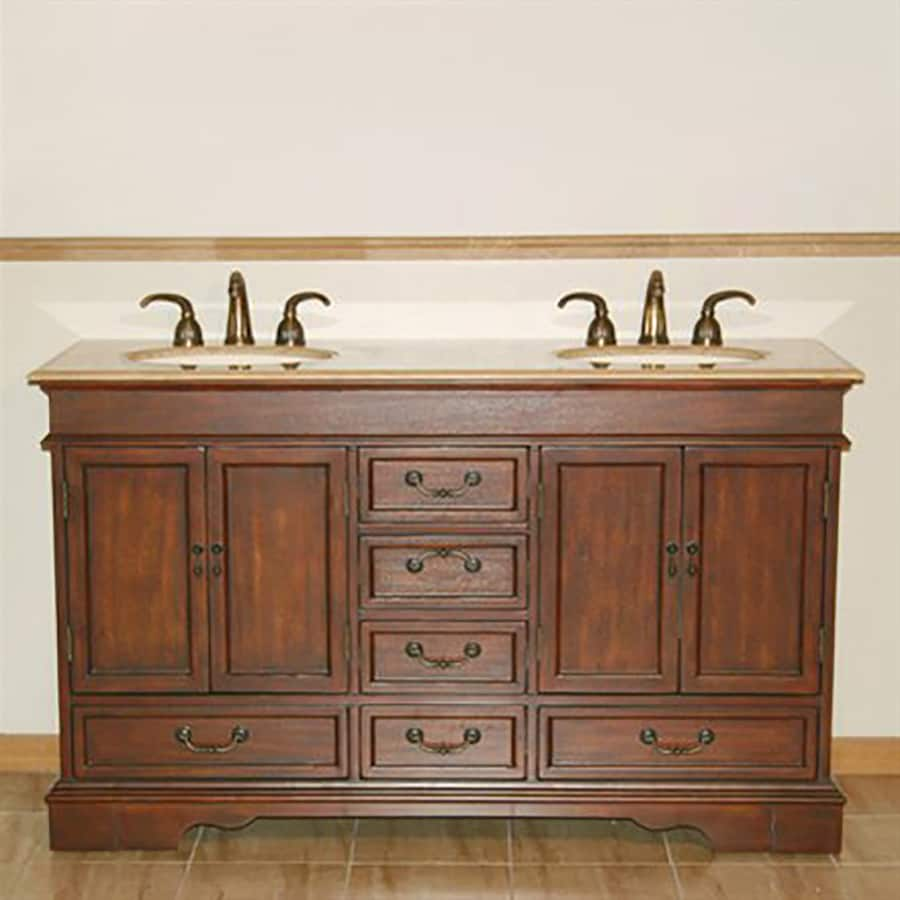 Silkroad Exclusive Ashley Red Chestnut 60-in Undermount Double Sink Bathroom Vanity with Travertine Top
