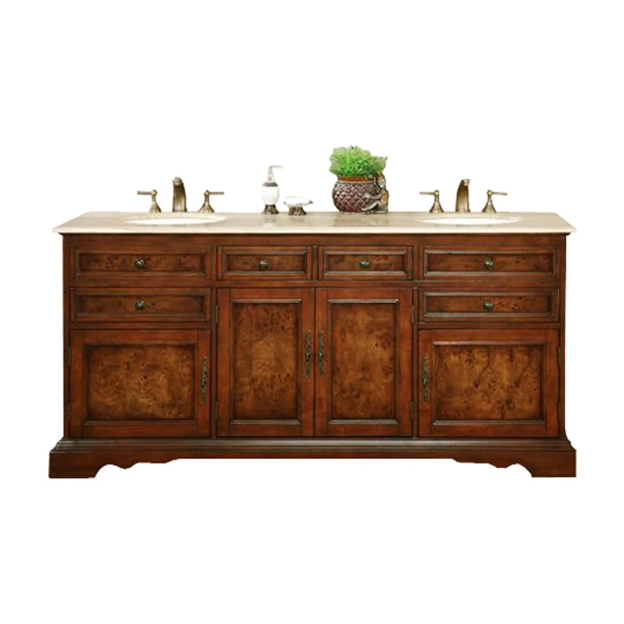 Silkroad Exclusive Bailey Red Chestnut 72-in Undermount Double Sink Bathroom Vanity with Travertine Top