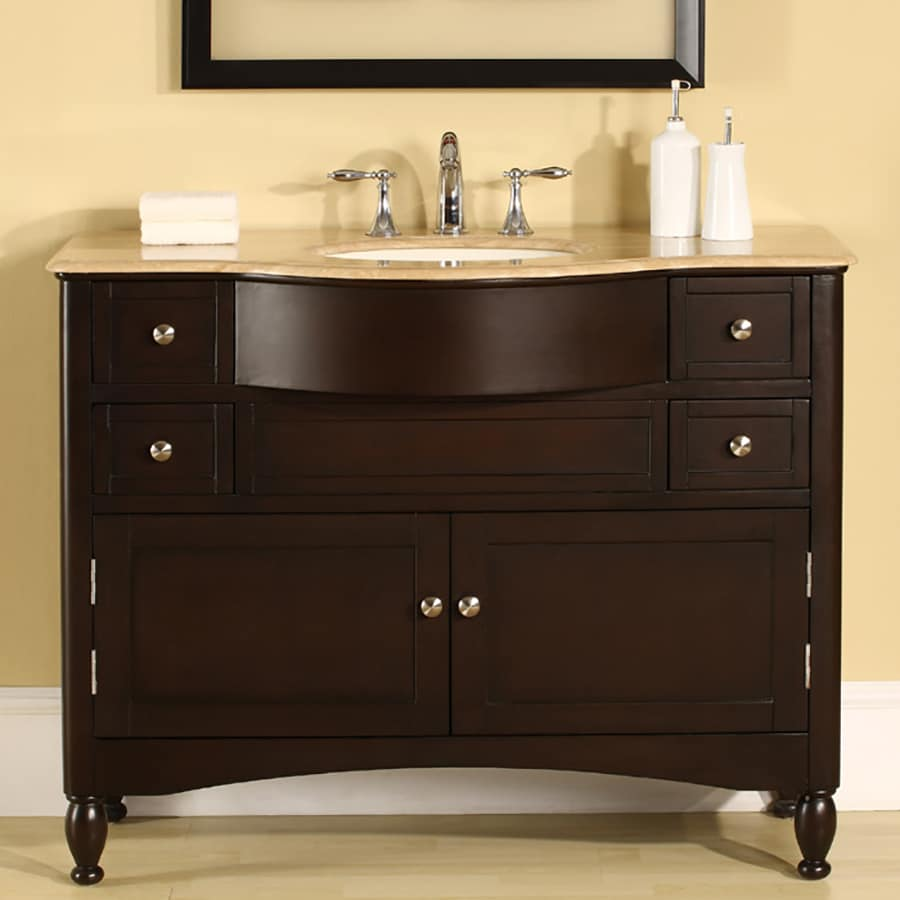 Silkroad Exclusive Dark Walnut 45-in Undermount Single Sink Bathroom Vanity with Travertine Top