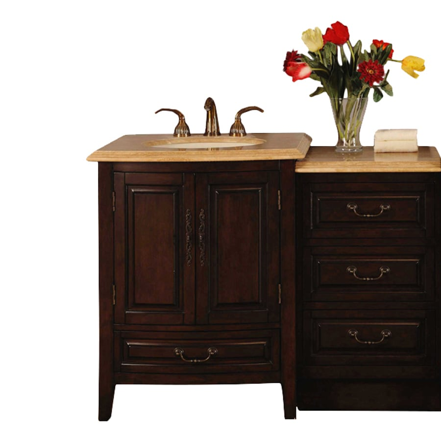 Silkroad Exclusive Dark Walnut 46.5-in Undermount Single Sink Bathroom Vanity with Travertine Top
