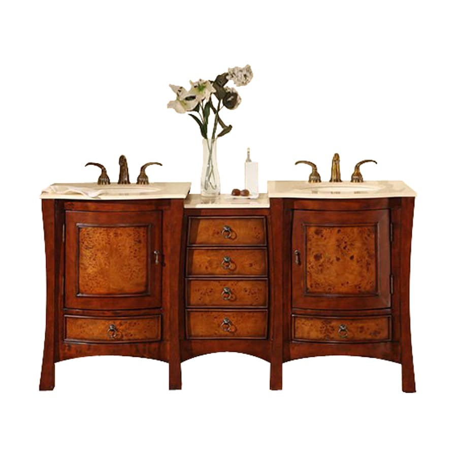 Shop silkroad exclusive vanessa cherry undermount double for Bathroom vanities with sinks included