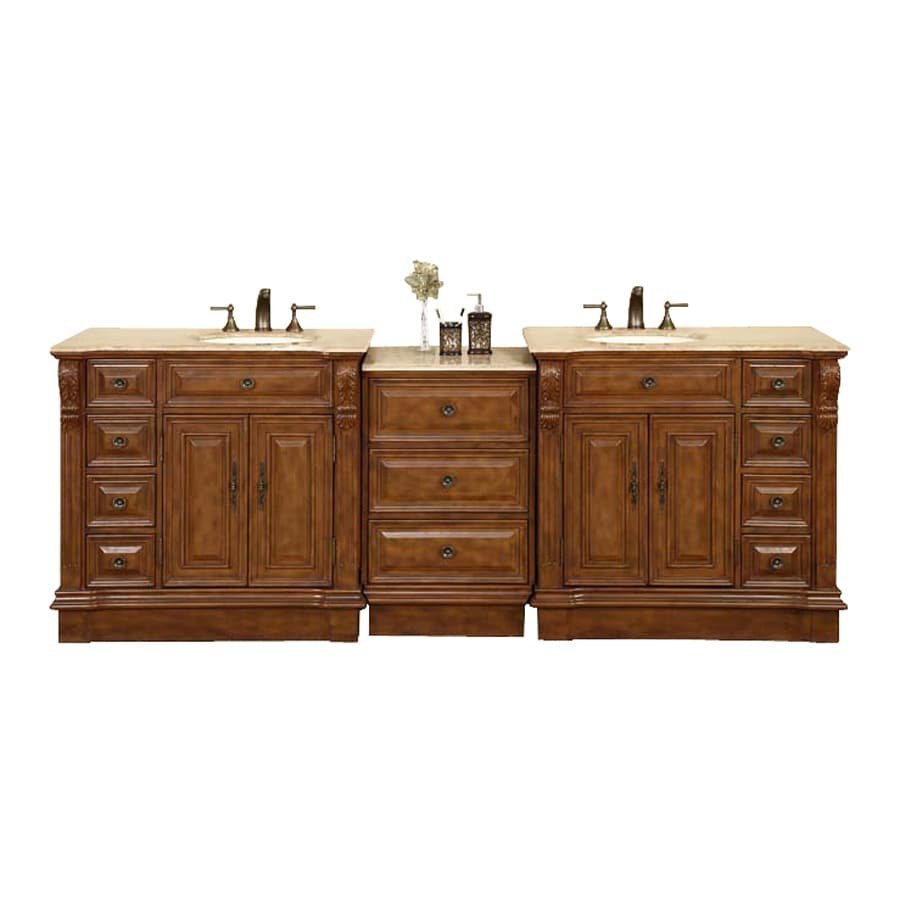 Shop silkroad exclusive empress walnut undermount double for Bathroom vanity tops