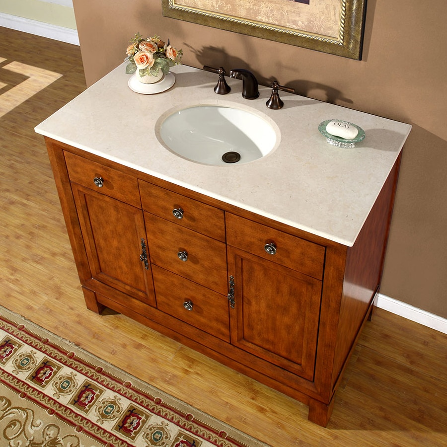 Silkroad Exclusive Frances cherry Undermount Single Sink Bathroom Vanity  with Natural Marble Top (Common: