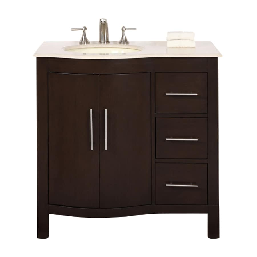 Shop silkroad exclusive kimberly dark walnut undermount single sink bathroom vanity with natural Lowes bathroom vanity and sink