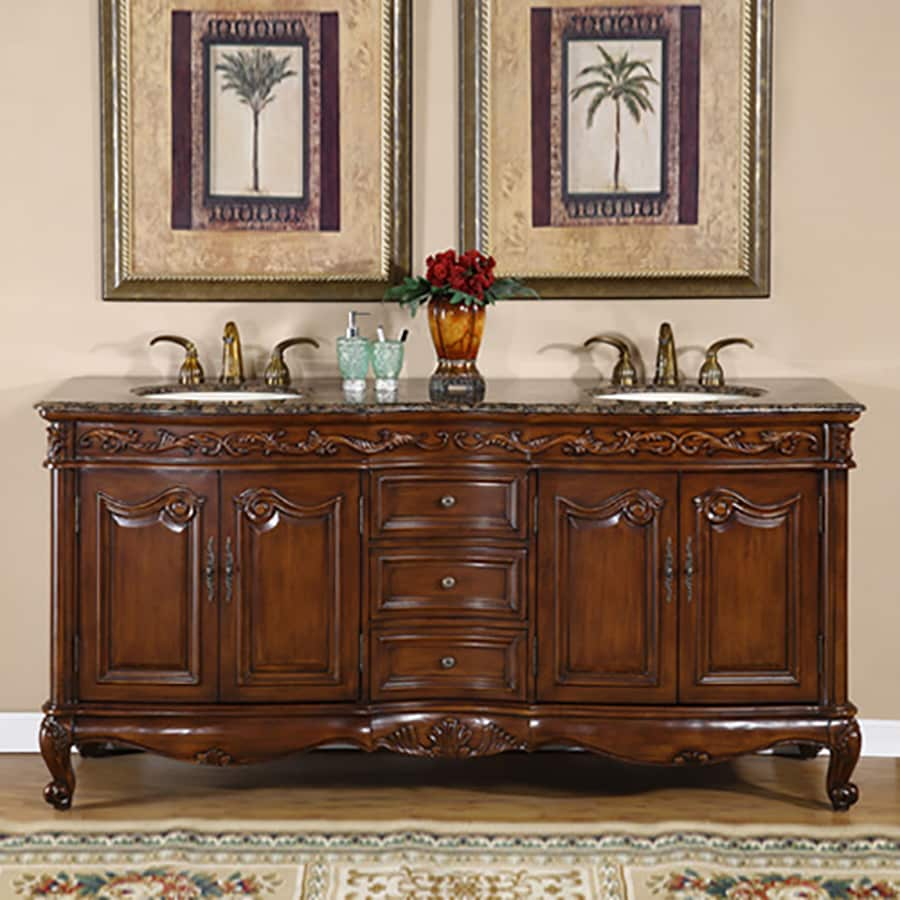 Silkroad Exclusive Ella English Chestnut Undermount Double Sink Bathroom Vanity with Granite Top (Common: 72-in x 22-in; Actual: 72-in x 22-in)