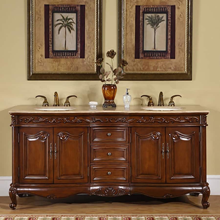 Silkroad Exclusive Ella English Chestnut Undermount Double Sink Bathroom Vanity with Travertine Top (Common: 72-in x 22-in; Actual: 72-in x 22-in)