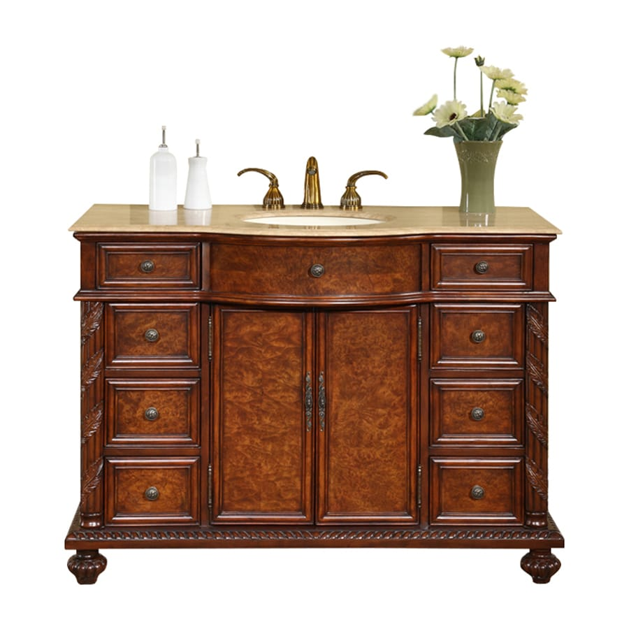 Silkroad Exclusive Victoria Red Mahogany 48-in Undermount Single Sink Bathroom Vanity with Travertine Top