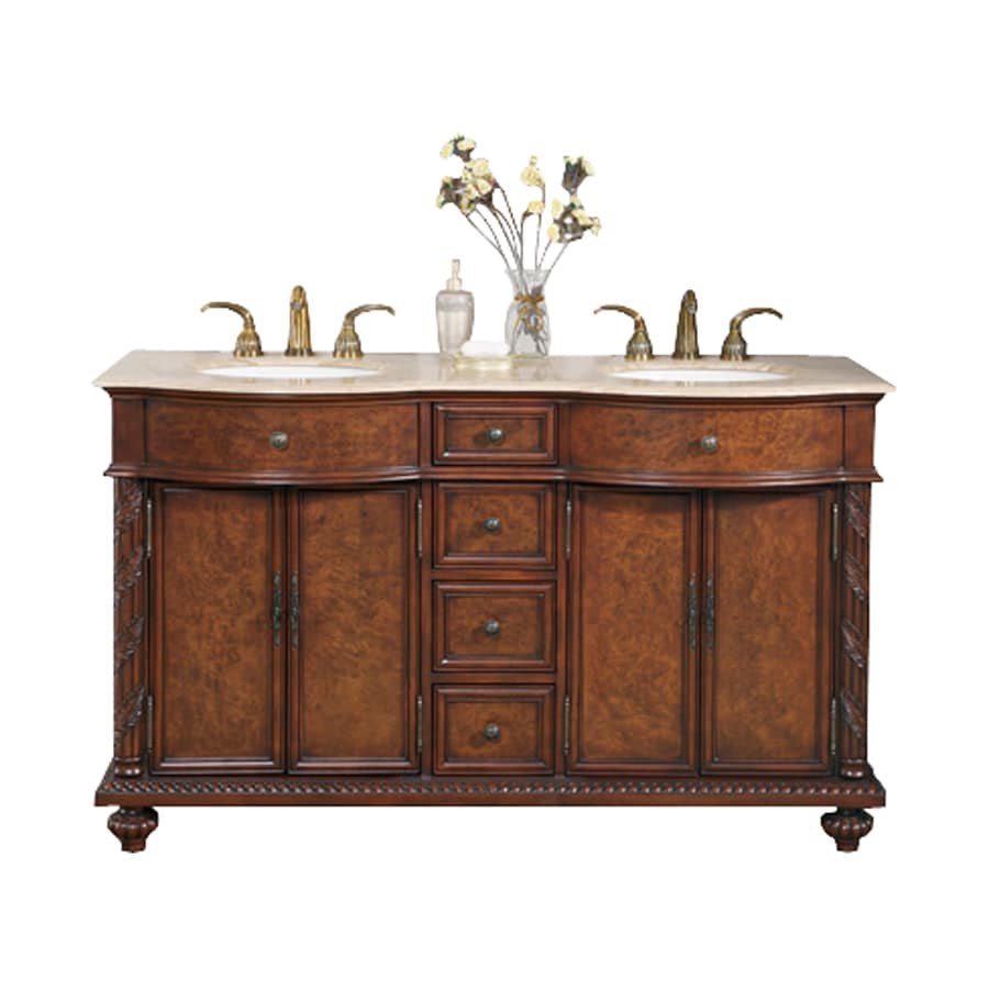 Shop silkroad exclusive victoria red mahogany vanity with travertine travertine top common 60 Stores to buy bathroom vanities