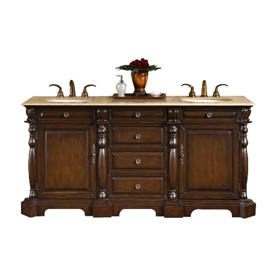 Silkroad Exclusive Dark Chestnut Undermount Double Sink Bathroom Vanity with Travertine Top (Common: 72-in x 22-in; Actual: 72-in x 22-in)