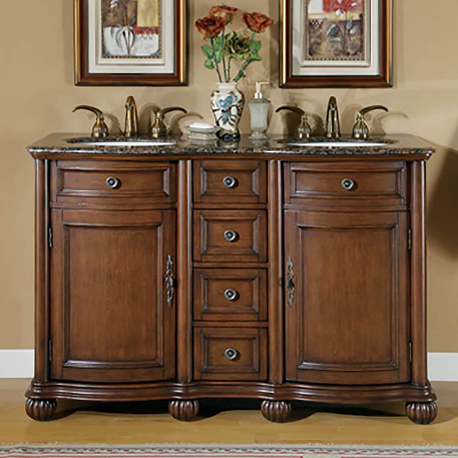 Shop silkroad exclusive molly english chestnut undermount double sink bathroom vanity with - Double bathroom vanities granite tops ...
