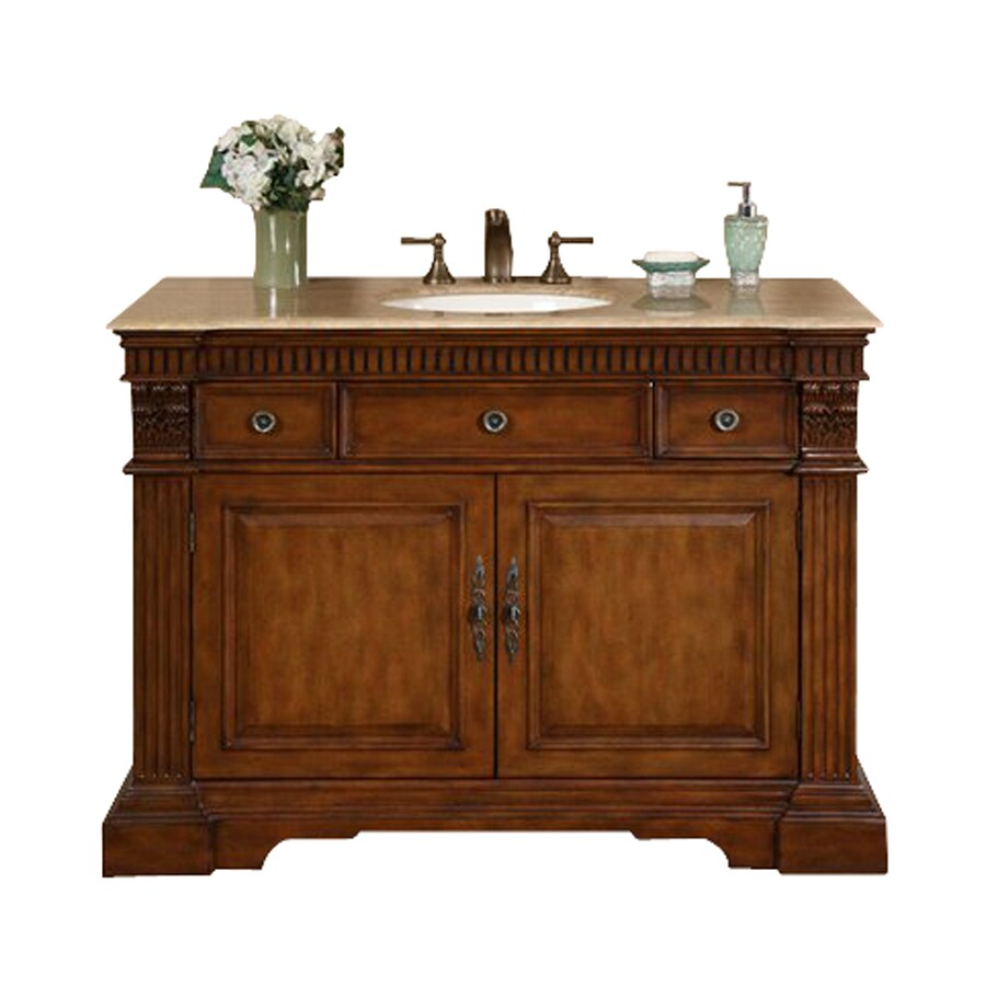 Shop Silkroad Exclusive Isabella Cherry Undermount Single Sink Bathroom Vanity With Travertine