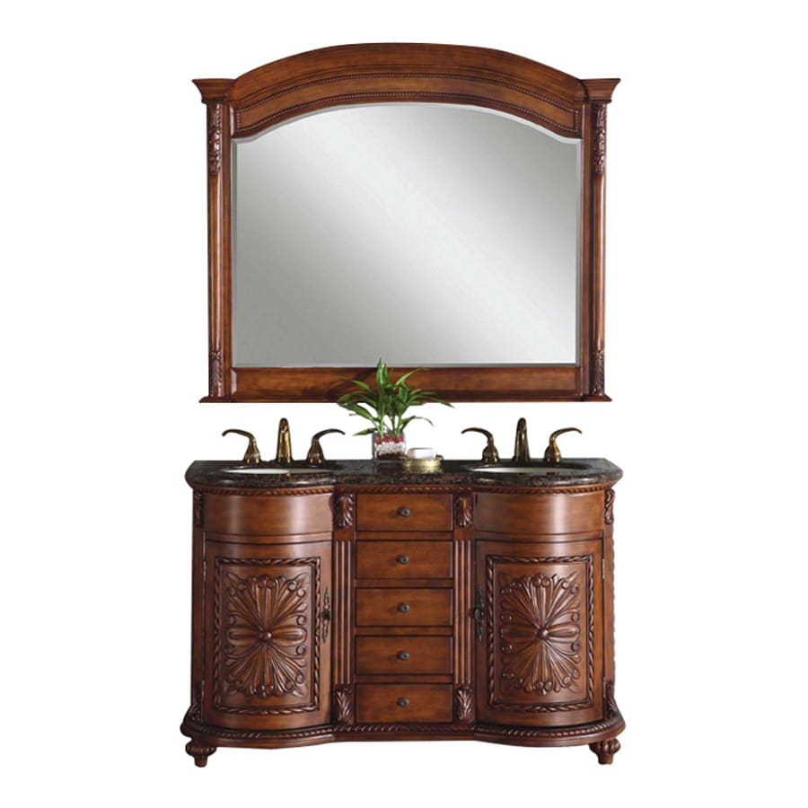 Silkroad Exclusive Alexandra English Chestnut Undermount Double Sink Bathroom Vanity with Granite Top (Common: 54-in x 22-in; Actual: 54-in x 22-in)