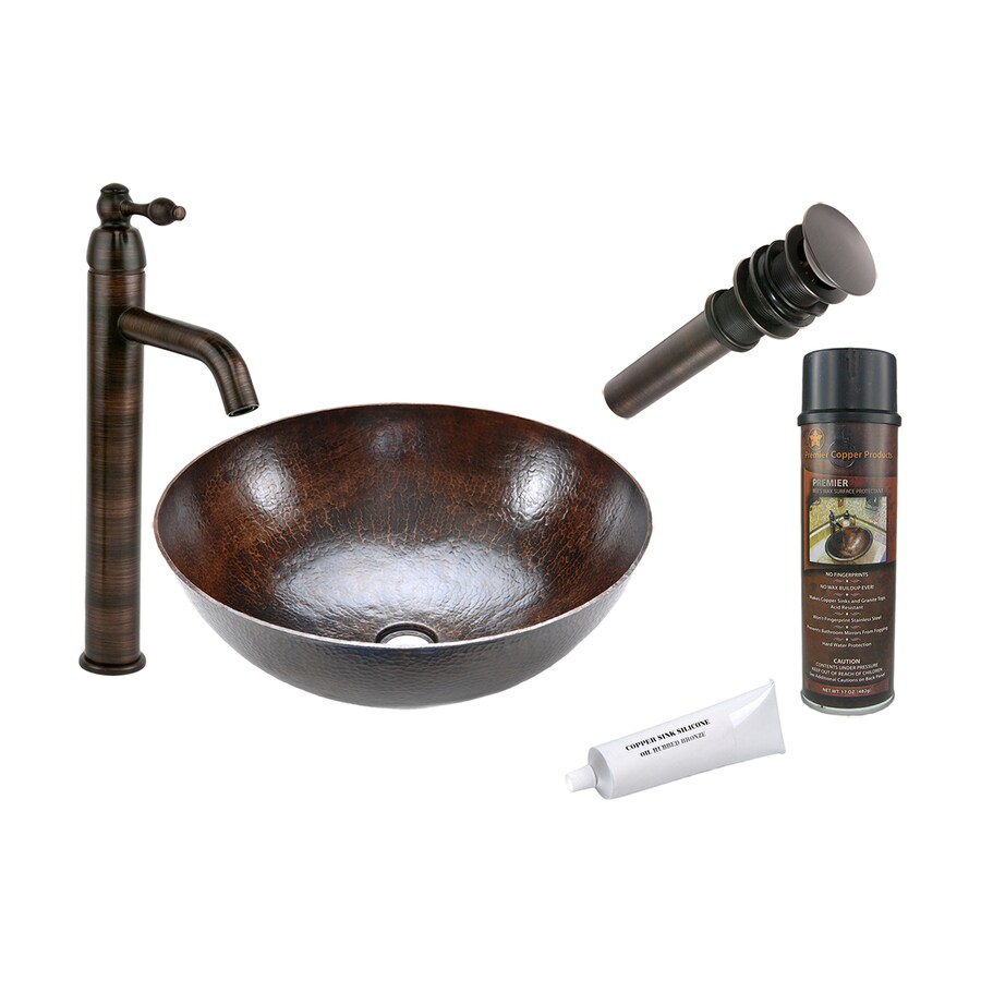 Premier Copper Products Oil Rubbed Bronze Copper Vessel Round Bathroom Sink with Faucet (Drain Included)