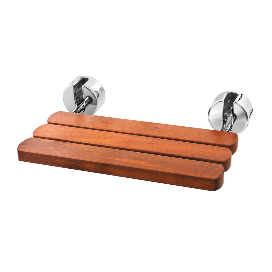 Mr. Steam Polished Chrome Teak Wall Mount Shower Seat