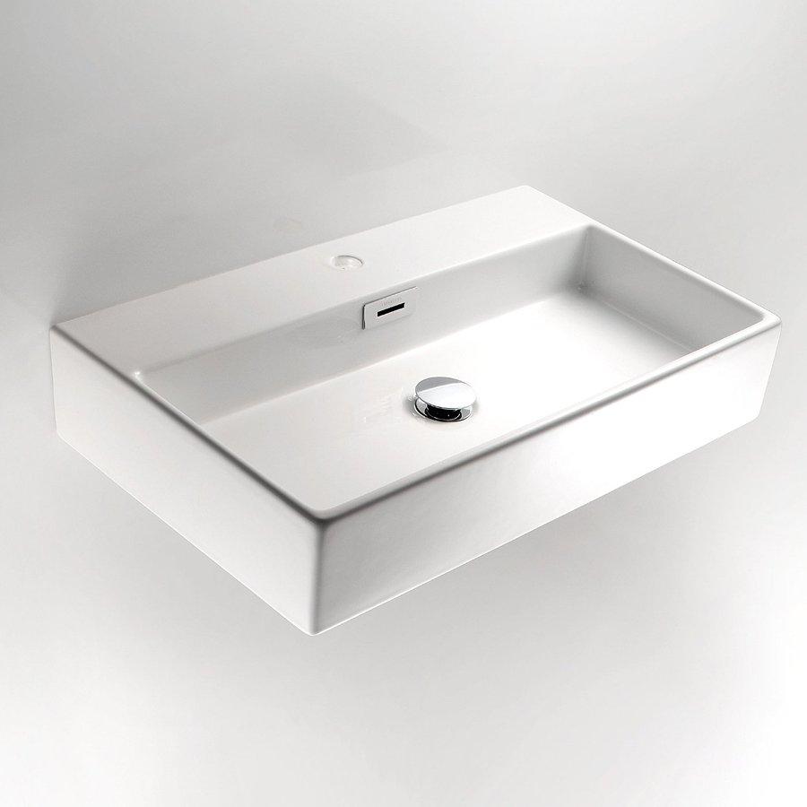 WS Bath Collections Linea Ceramic White Ceramic Vessel Rectangular Bathroom Sink