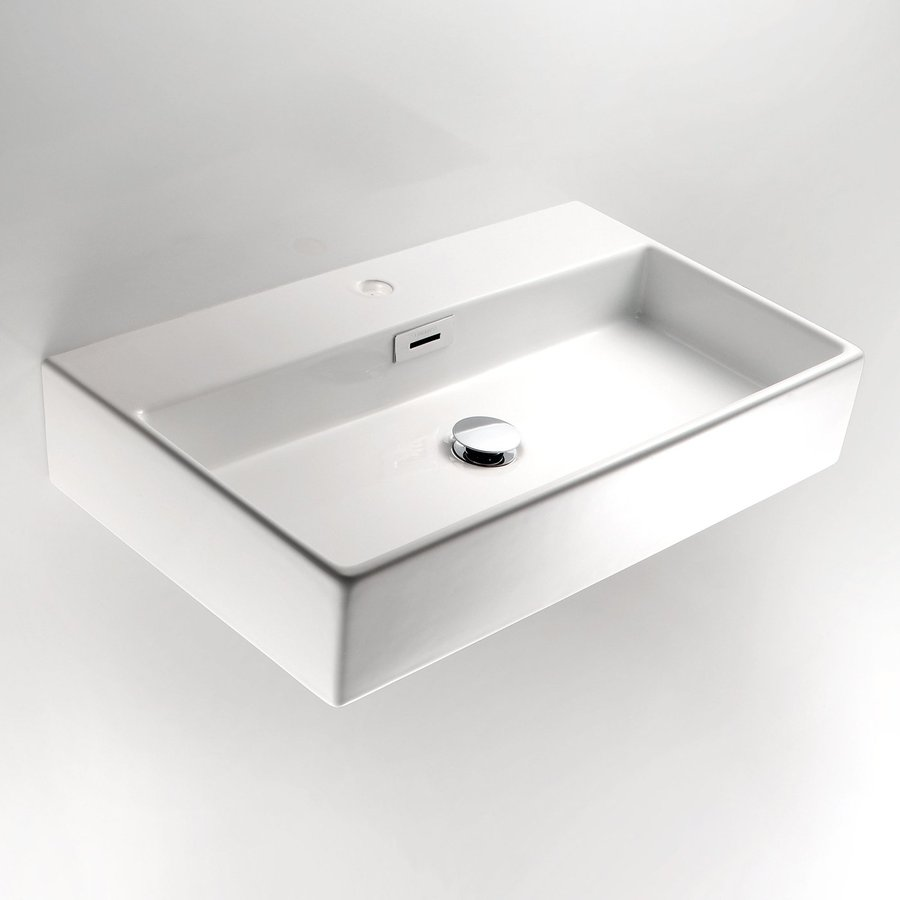 WS Bath Collections Linea Ceramic White Ceramic Vessel Rectangular Bathroom Sink