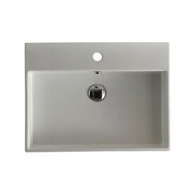 WS Bath Collections Ceramica I Wall Mount Rectangular Bathroom Sink With  Overflow