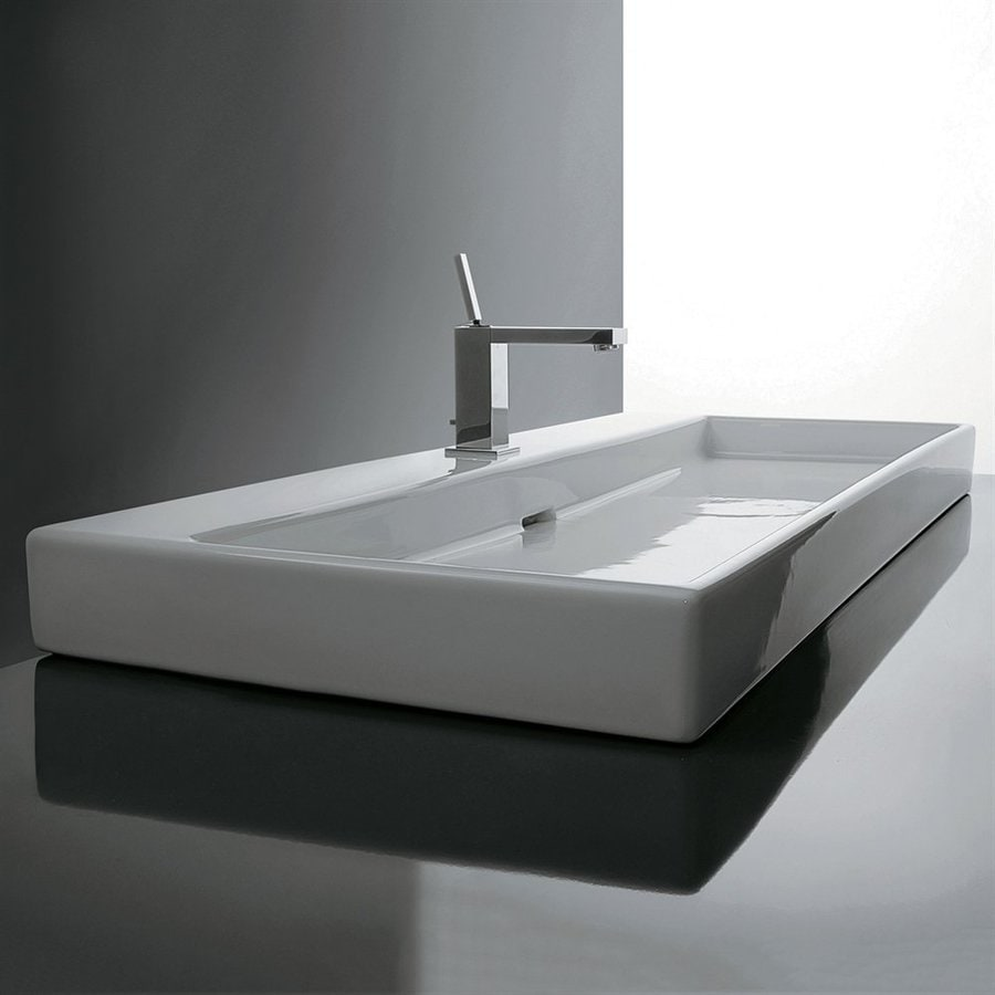 WS Bath Collections Ceramica I White Ceramic Wall-Mount Rectangular Bathroom Sink with Overflow