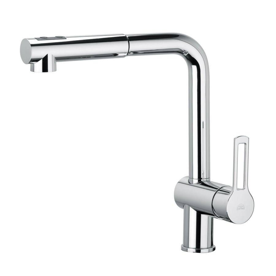 WS Bath Collections Ringo Polished Chrome 1-Handle Deck Mount Pull-Out Kitchen Faucet
