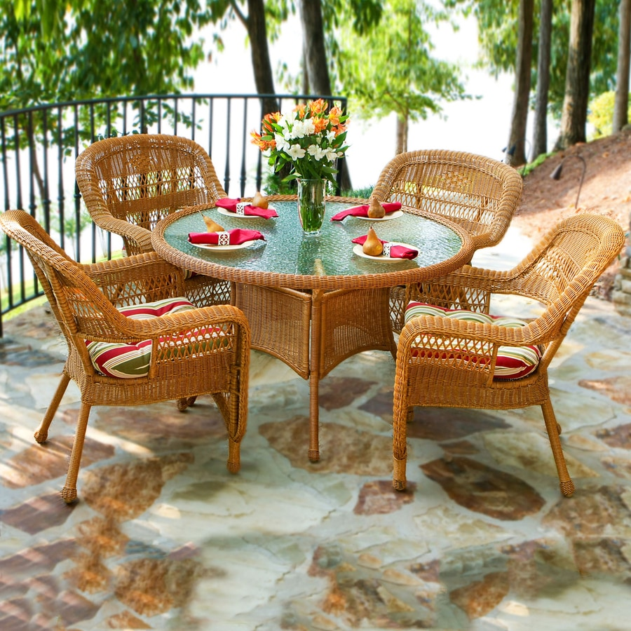 Tortuga Outdoor Portside 5 Piece Southwest Amber Glass Patio Dining Set