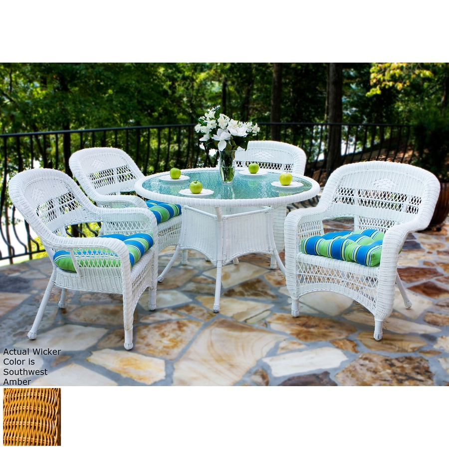 Lowes Card Table And Chairs ... Portside 5-Piece Southwest Amber Glass Patio Dining Set at Lowes.com