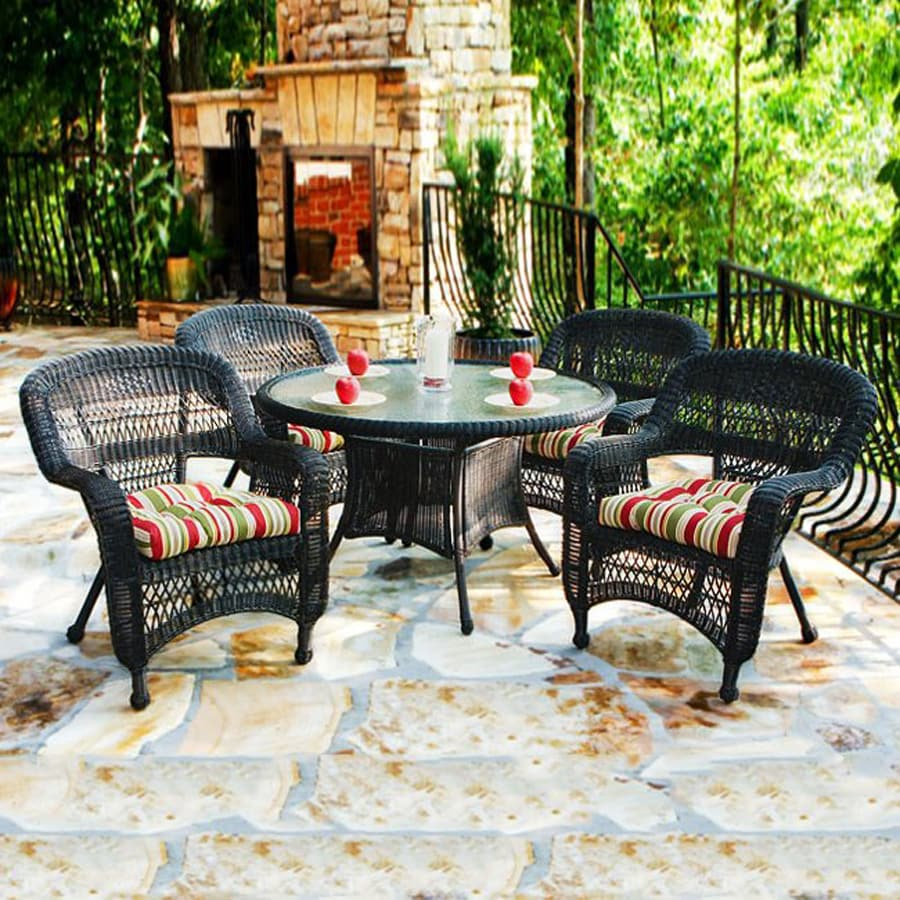 Shop Tortuga Outdoor Portside 5 Piece Dark Roast Glass Patio Dining Set At Lo