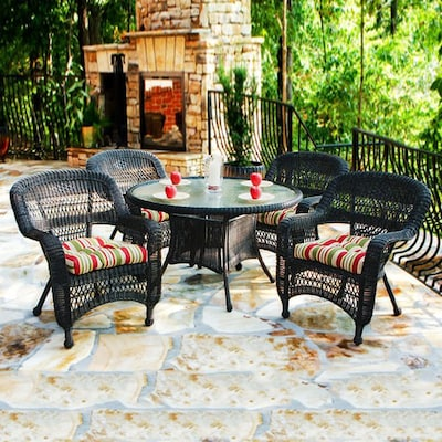 Portside 5 Piece Brown Wood Frame Wicker Patio Dining Set With Eastbay Pompeii Cushions