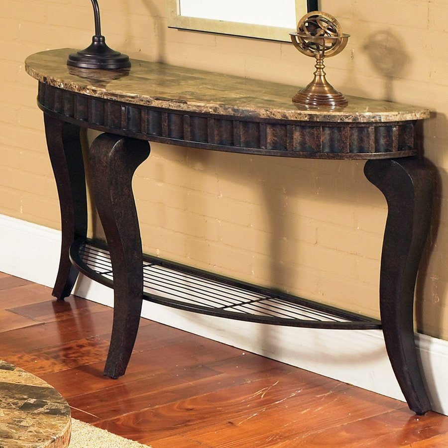 Steve Silver Company Hamlyn Brown Marble/Pewter Bronze Half Round Console  And Sofa Table