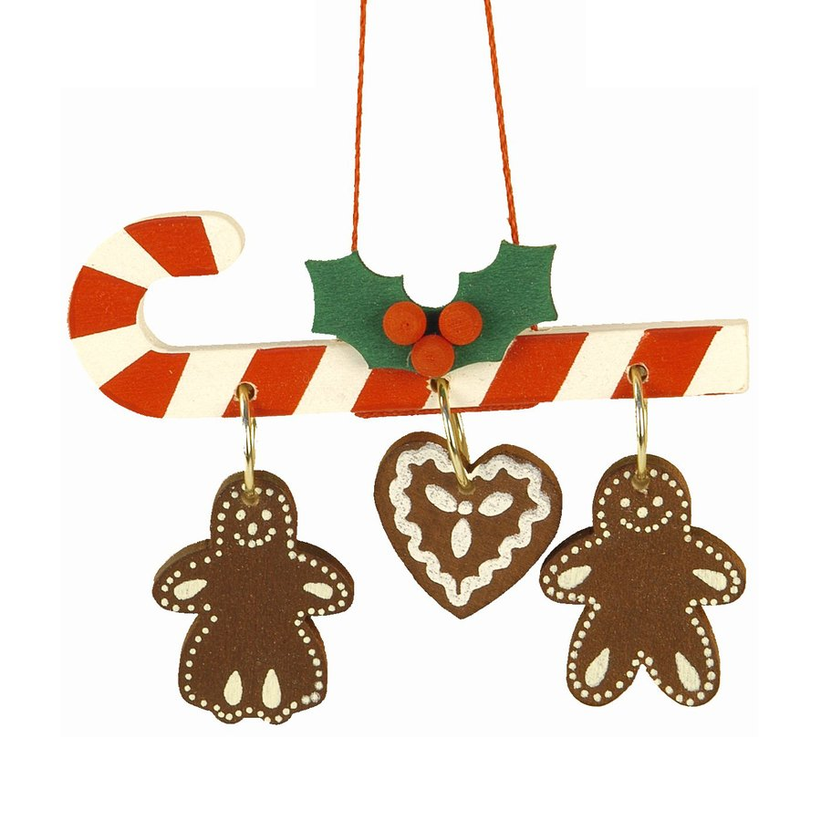 Alexander Taron Candy Cane With Gingerbread Ornament