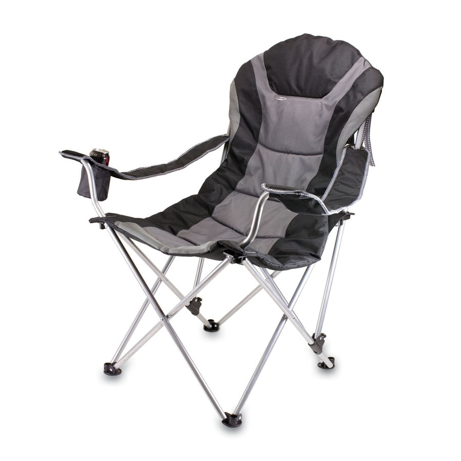 Picnic Time Black Steel Folding Camping Chair