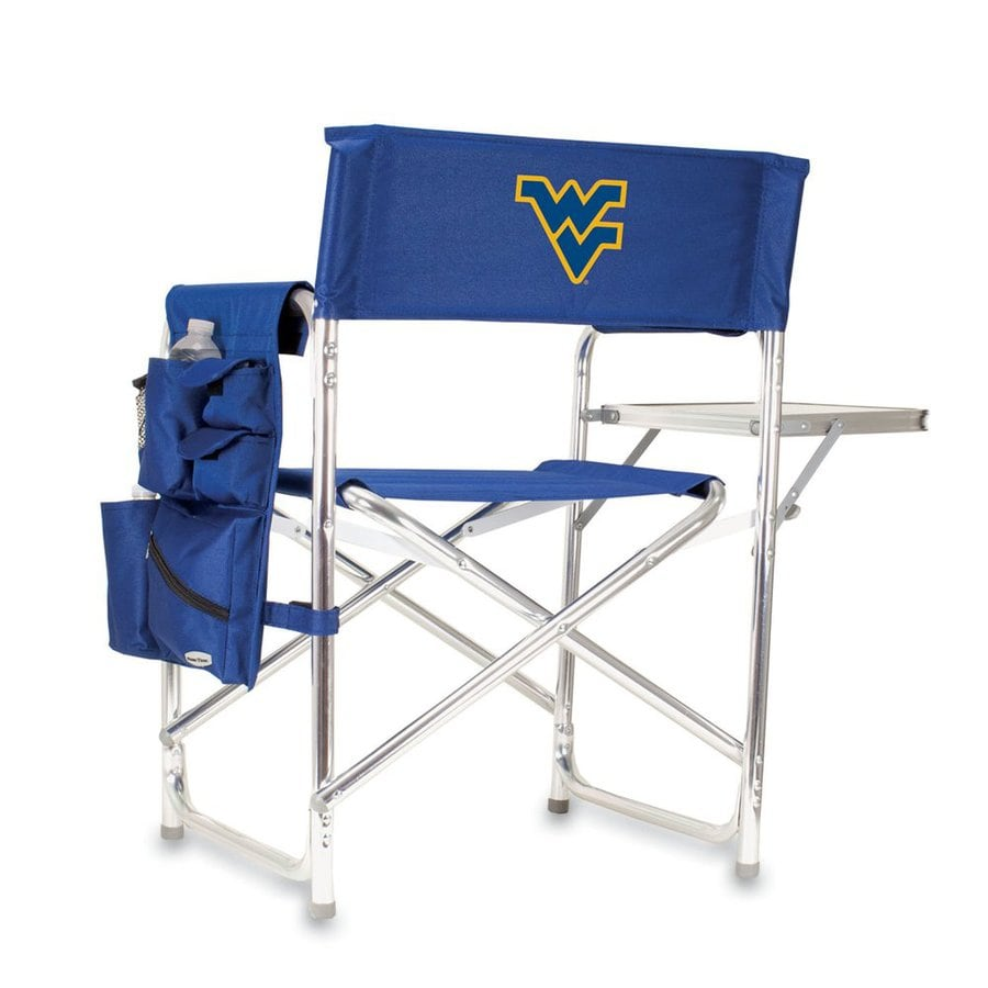 Picnic Time Blue NCAA West Virginia University Mountaineers Aluminum Folding Camping Chair