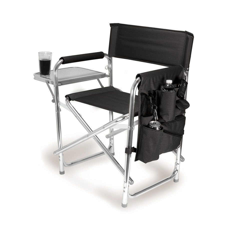 Picnic Time Black Aluminum Folding Camping Chair