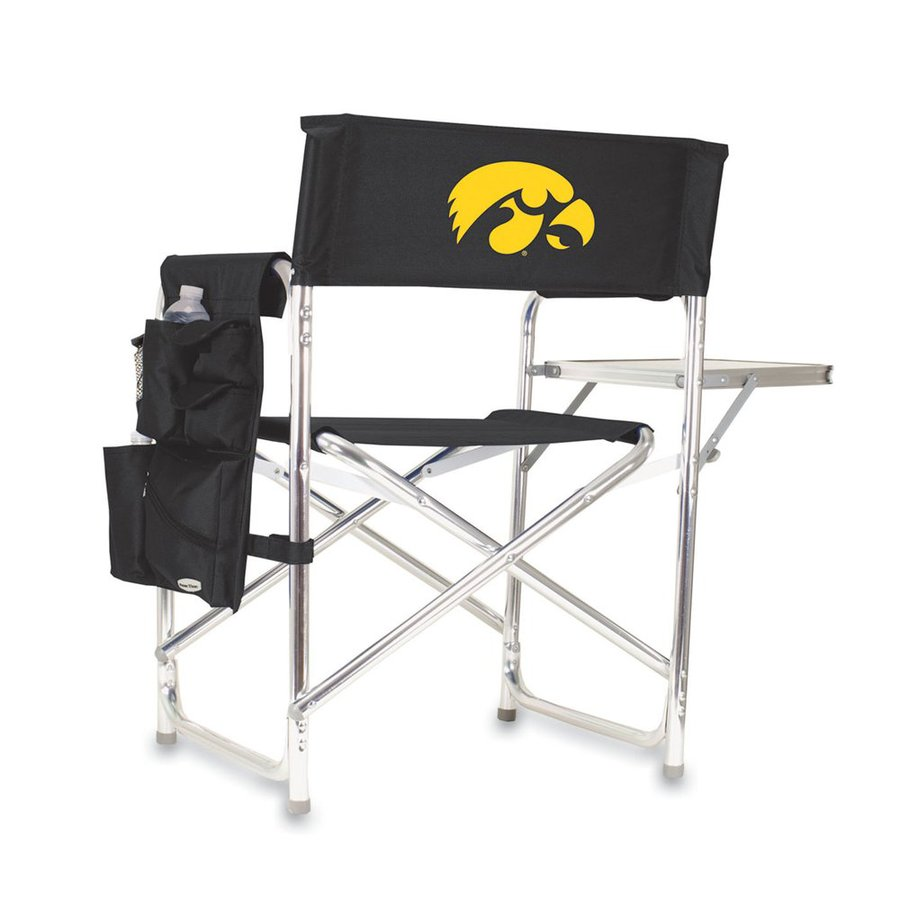 Picnic Time Black University Of Iowa Hawkeyes Aluminum Folding Camping Chair