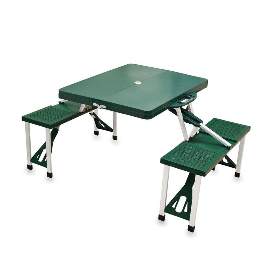 Picnic Time 2-ft 1-4/5-in Green Plastic Square Folding Picnic Table