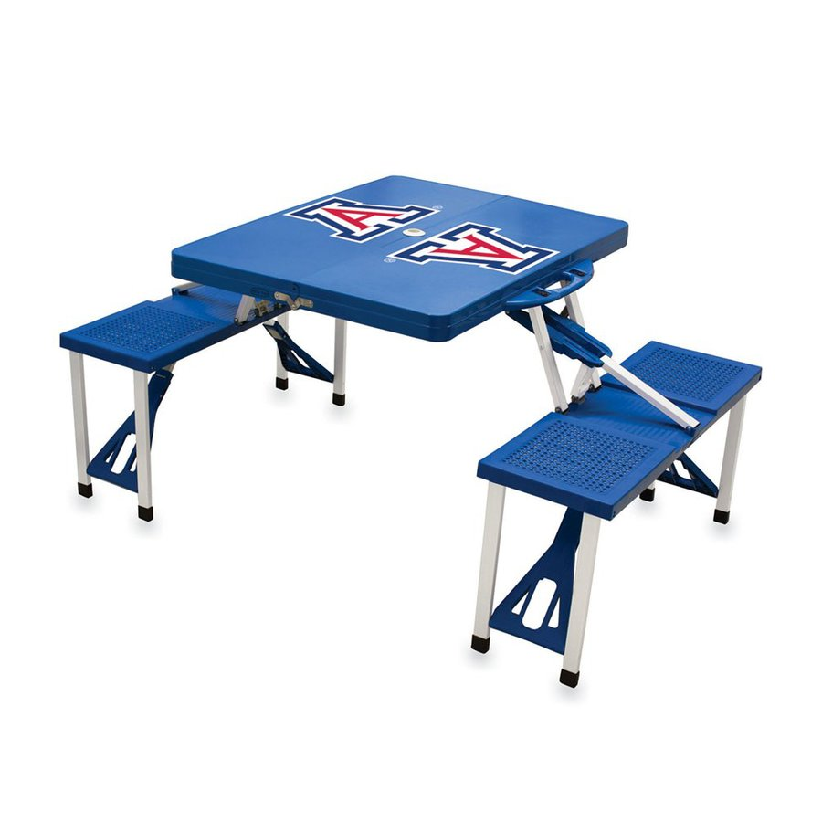 Picnic Time 2-ft 1-4/5-in Blue University Of Arizona Wildcats Plastic Square Folding Picnic Table
