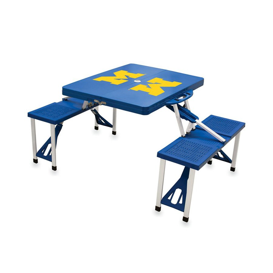 Picnic Time 2-ft 1-4/5-in Blue University Of Michigan Wolverines Plastic Square Folding Picnic Table