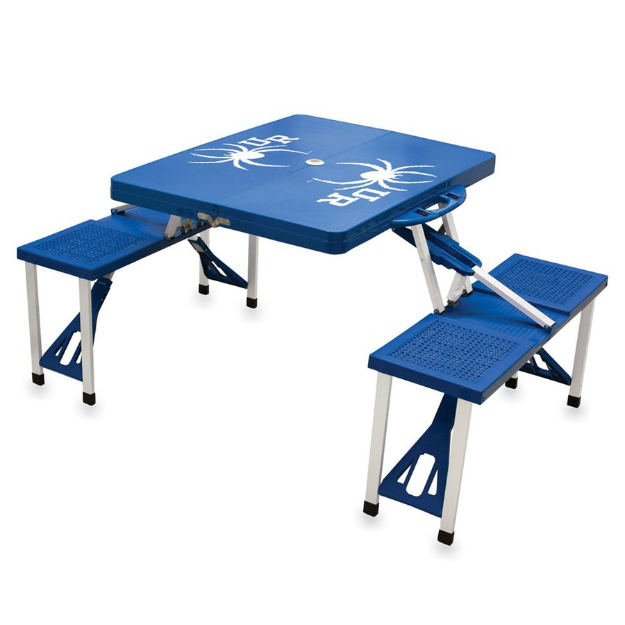 Picnic Time 2-ft 1-4/5-in Blue Univerisity Of Richmond Spiders Plastic Square Folding Picnic Table